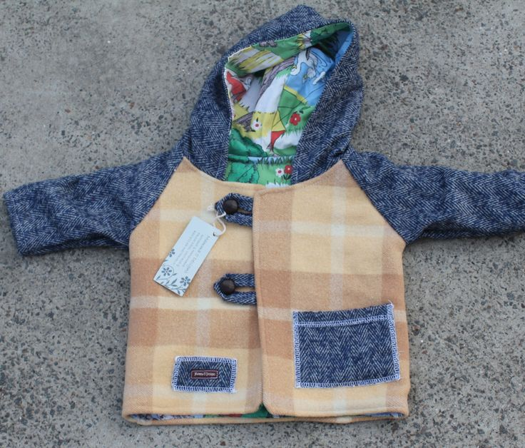 boys size 0, Boho jacket, fully lined, one of a kind, vinatge cotton, wool ,  hooded, long sleeve by mamma5design on Etsy