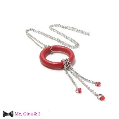 Wooden red curtain's hoop & chains long pendant