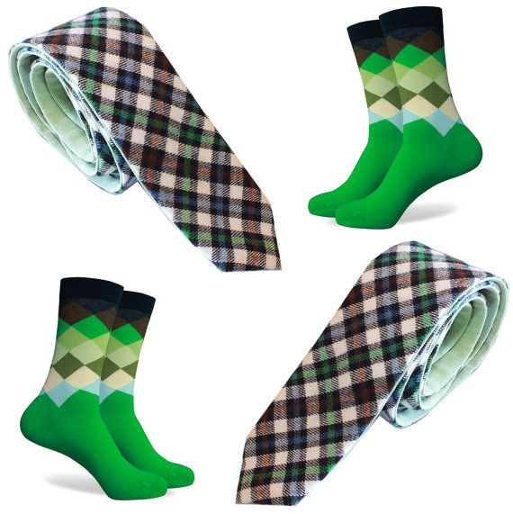Matching Mens Socks & Tie - Green Argyle Skinny Plaid Tie Set Gift Wedding Groom Co-Ordinating Golf Forest Blue Khaki Emerald Brown Cream