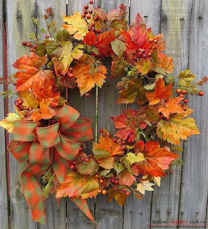 Изготовление осенних венков из листьев.. Фото №4