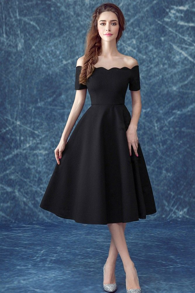 9acd1180d1b Buy Simple Black Off The Shoulder Sleeves Party Dress In Midi Length at  wholesale price online. Free shipping and pro custom service since 2009.