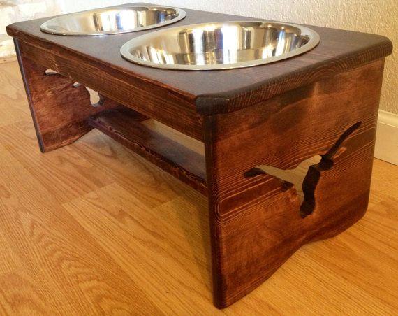 "Raised Dog Feeder - ATX Edition - 10"" Height - 3 Quart Bowls - Longhorn"