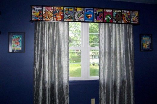 nice superhero room -- great comic book valance over the window