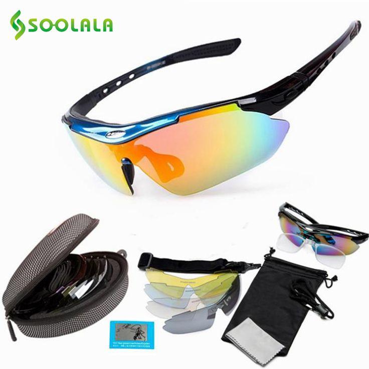 SOOLALA Sports Sunglasses 5 Lens Windproof Anti-fog With Mypia Frame Sport MTB Polarized Driver Fishing Women Men Sunglasses