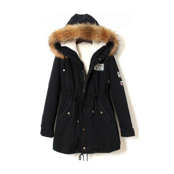 Faux Fur Trim Hood Black Coat ($43) ❤ liked on Polyvore featuring outerwear, coats, jackets, coats & jackets, navy, navy blue parka, hooded parka, black hooded coat, parka coat and navy long coat