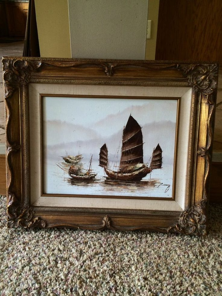 'Chinese Junk' Original Oil Painting by P. Wong *Framed | Oil paintings, Oil and Paintings
