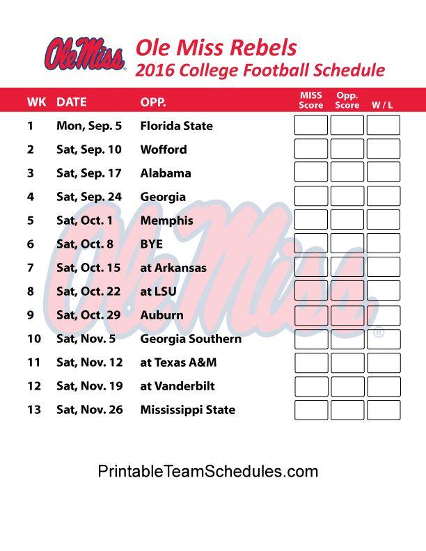 Ole Miss Rebels Football Schedule 2016. Printable Schedule Here - http://printableteamschedules.com/collegefootball/olemissrebels.php
