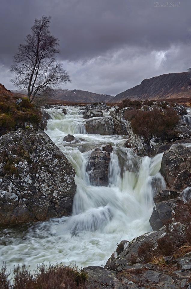 Rannoch Moor waterfalls in Highlands of Scotland.