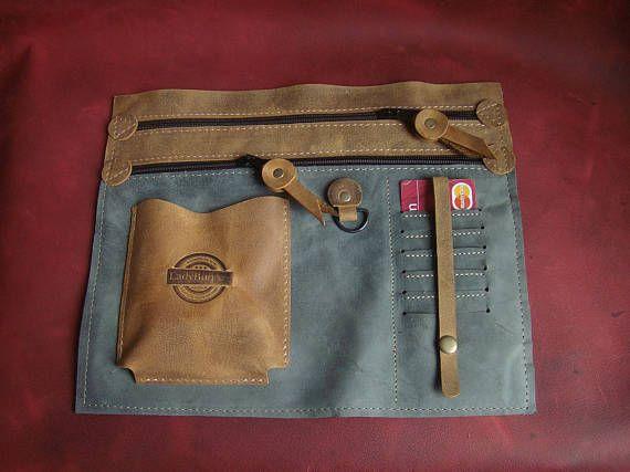 Portemonnee organisator-2 grote rits zakken-Handmade
