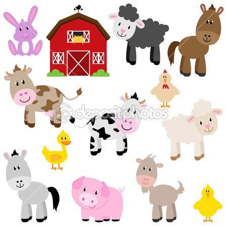 colección de vectores de animales de granja de dibujos animados lindo y granero — Vector stock © PinkPueblo #27835231