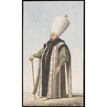 Watercolour - An Ottoman official, possibly a Miri Alem, or leader of troops