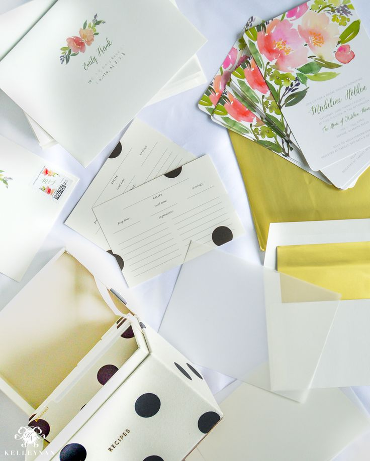 bridal shower invitations with recipe card attached%0A Bridal Shower Invitation Ideas with Recipe Cards floral and polka dot  theme for garden party