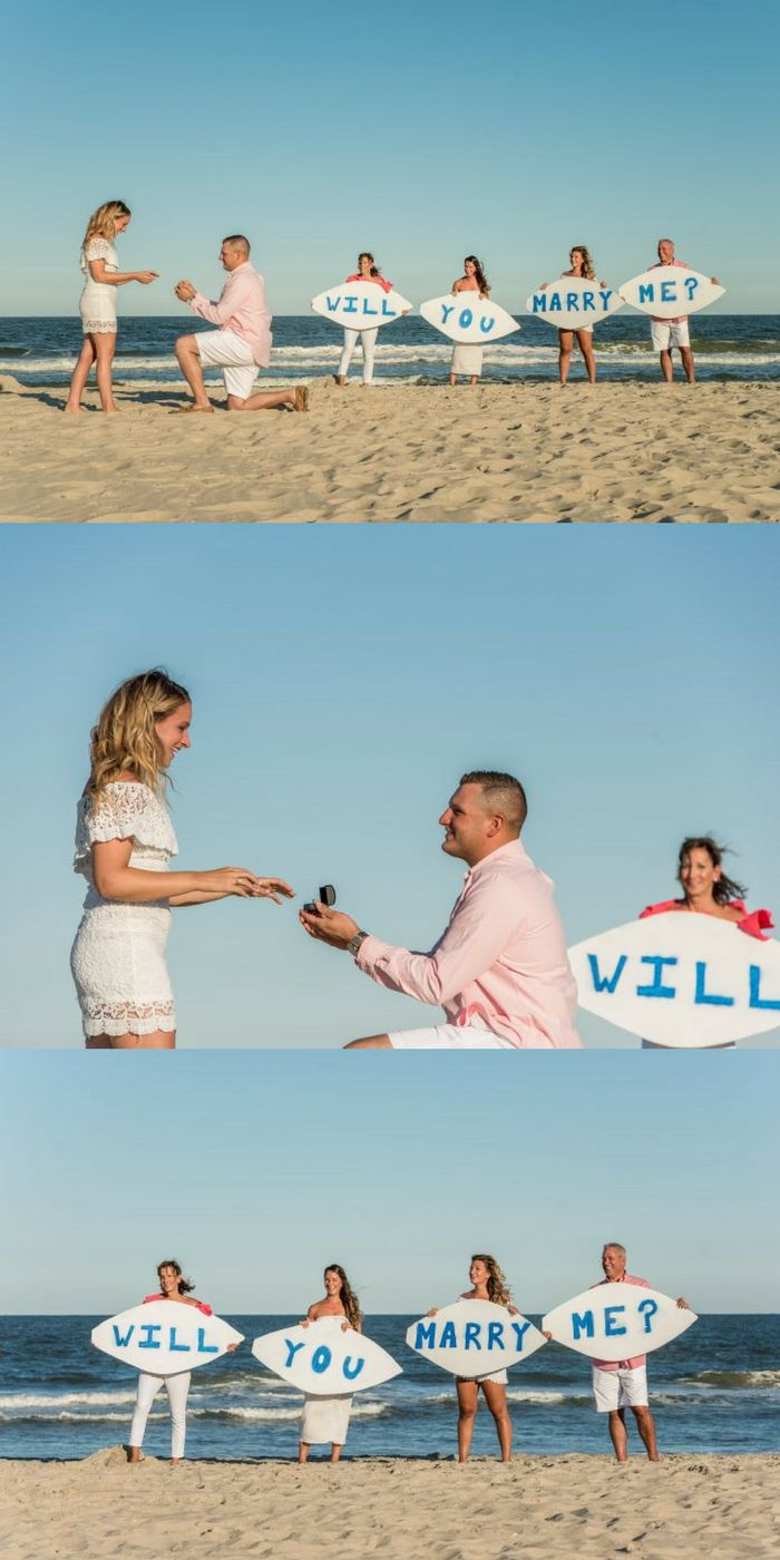 Her family helped pop the question with surfboards, and it's the cutest beach proposal!