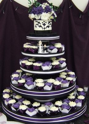 Wedding Cupcakes and Cake in White n Purple from www.secondslices.ca