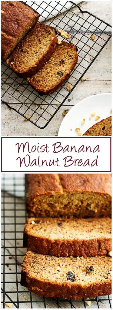 Moist Banana Walnut Bread is filled with chunks of nuts, pieces of soft bananas and makes a perfect treat any time of day. via @berlyskitchen