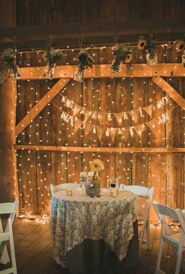 Like the idea of lights hanging from the wall behind our sweetheart table:)