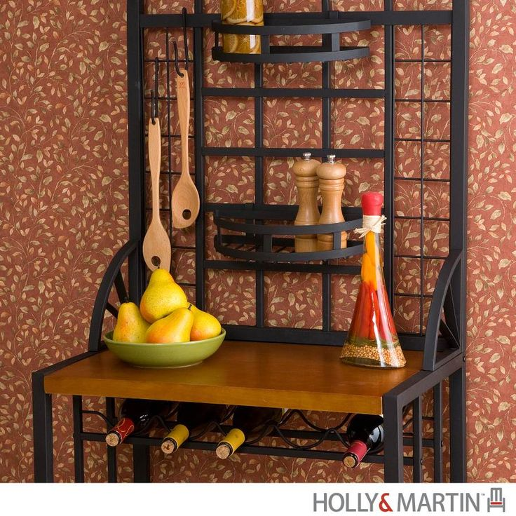 bakers racks with storage | Holly & Martin Transitional Metal Baker's Rack With Wine Storage