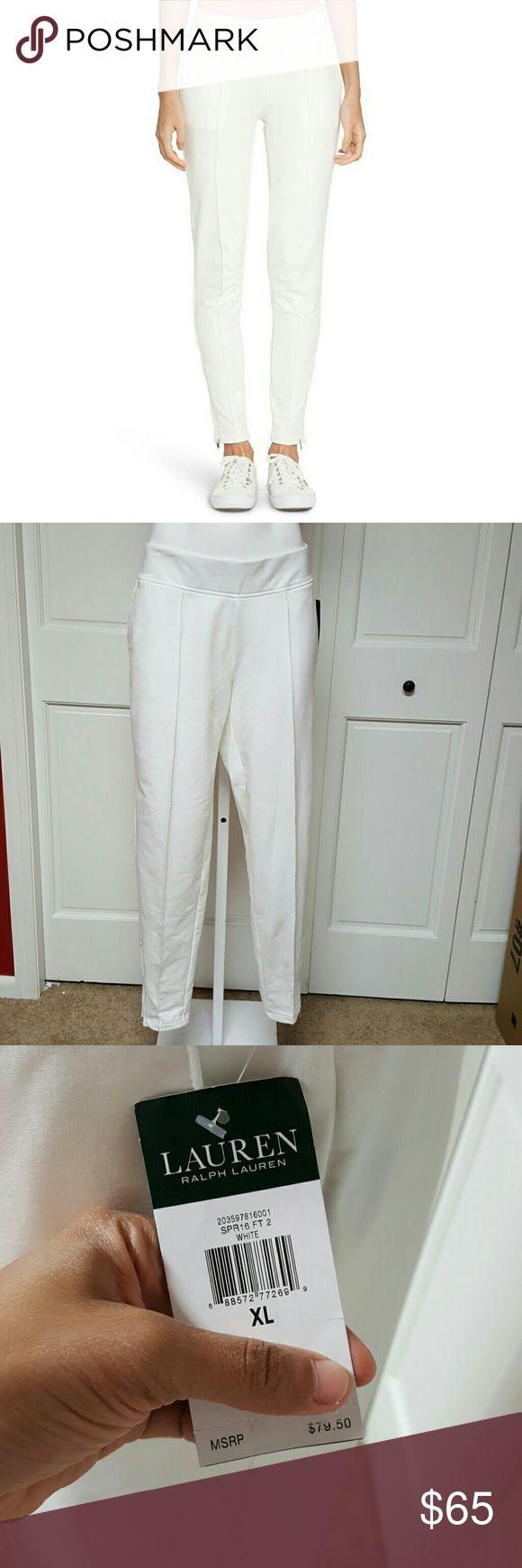 """Lauren Ralph Lauren Womens Zip-Cuff Skinny Pants. A brand-new, unused, and unworn item.  Color: White  Size: XL  Style: White  Brand: Lauren Ralph Lauren  Item description """"Lauren Ralph Lauren Womens Zip-Cuff Skinny Pants. Lauren Ralph Lauren Pants Leggings"""