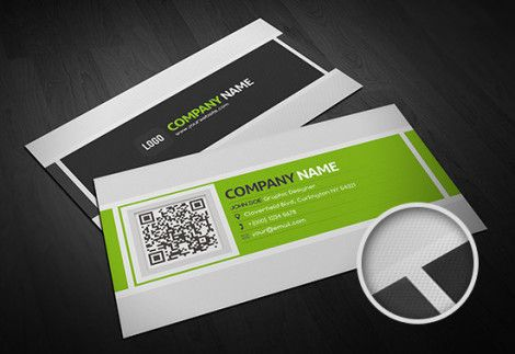 Fresh Green Grey Business Card Template with QR Code
