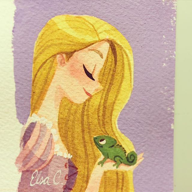 Rapunzel and Pascal by Elsa Chang