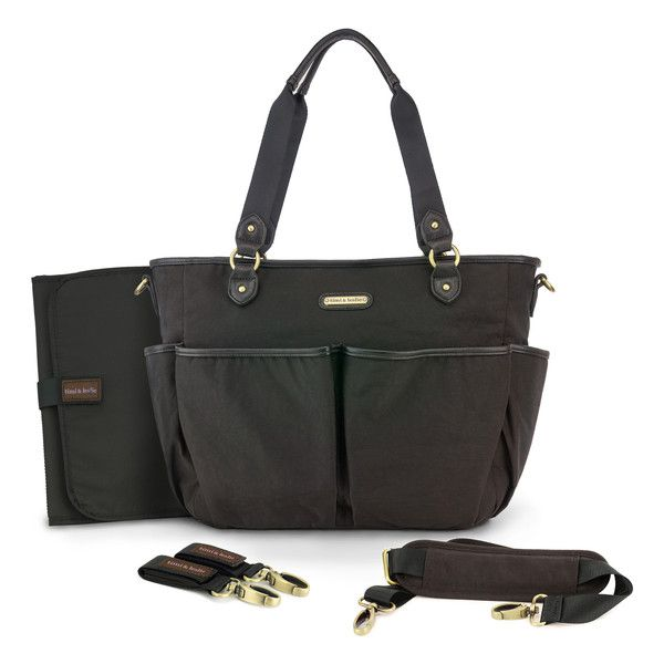 "timi & leslie ""Tag-A-Long Tote"" Soho Black Designer Baby Bag Nappy Bag Set"