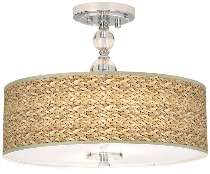 Amazing Seagrass Giclee 16 Wide Semi Flush Ceiling Light