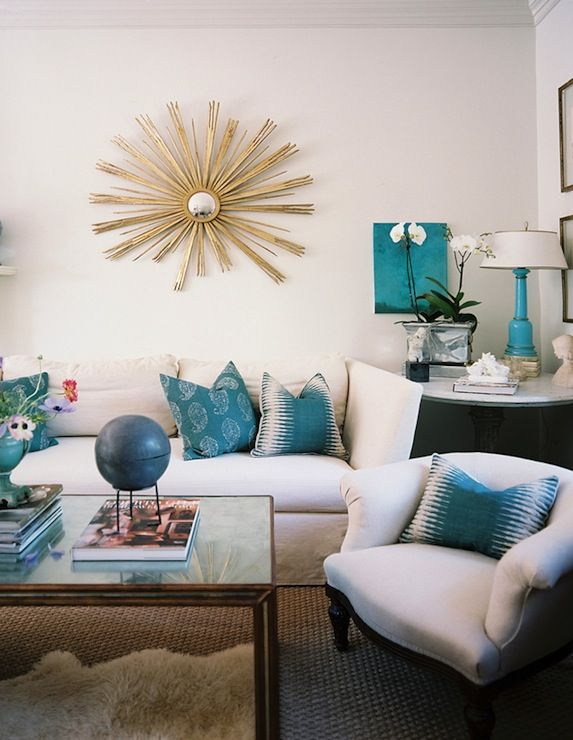 Living Rooms   Vintage Gold Sunburst Mirror White Sofa Teal Blue Pillows  Marble Top Pedestal Table