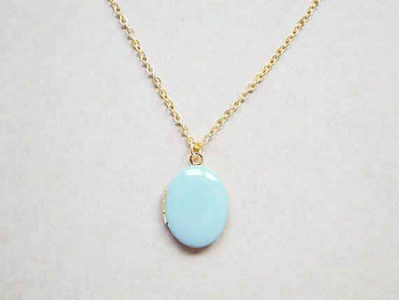 Pale Blue Oval Photo Locket - Custom Charm Color - Medium