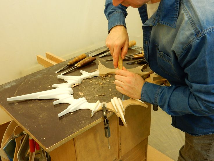 Hand Carving the Nouvelle mirror, this is very tedious and fine work.