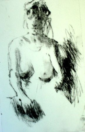 pensive nude,etching