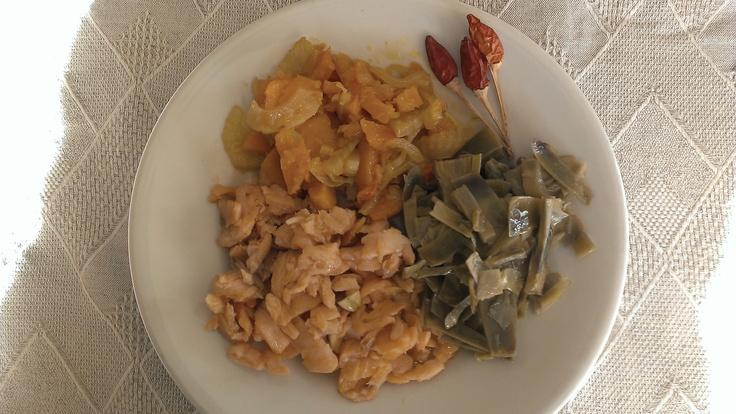salmone carciofi zucca finocchi peperoncino