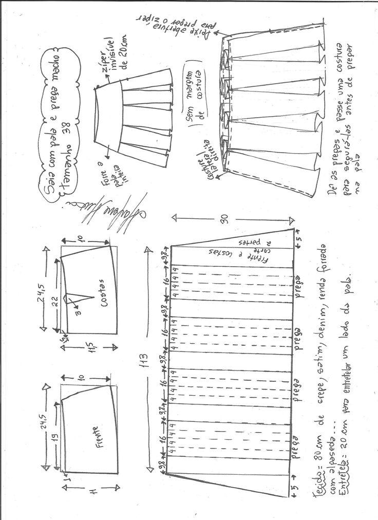 Esquema de modelagem de saia com pala e pregas macho tamanho 38.