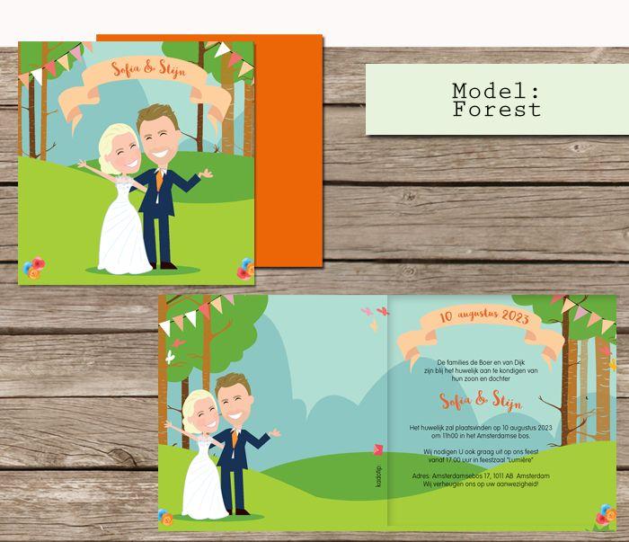 Nagetekend op de trouwkaarten? een cartoon van jullie twee! #trouwkaarten #bos #cartoon #maatwerk #bohemian wedding #boho #forest #verloofd #trouwen #huwelijk #boda