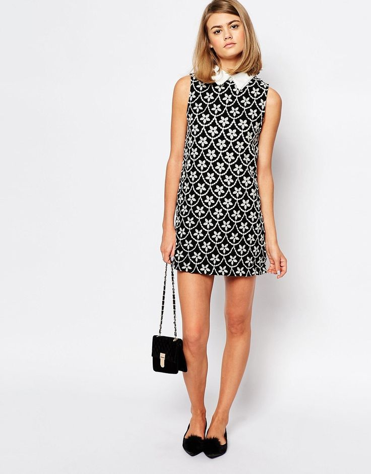 Image 4 of Sister Jane Crescent Moon Wrap Collar Dress In Embroidered Floral