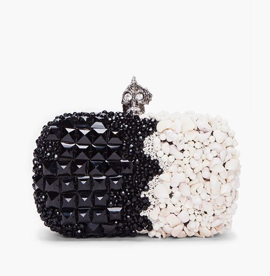 Alexander McQueen Black & White Punk Shell Box Clutch | More bling here: http://mylusciouslife.com/photo-galleries/bling-fling/
