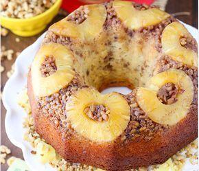 Κέικ αναποδογυριστό με ανανά και καρύδια
