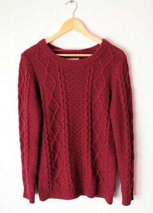 Kup mój przedmiot na #vintedpl http://www.vinted.pl/damska-odziez/bluzy-i-swetry-inne/12635667-bordowz-sweter-atmosphere-s-m-warkocy-jak-nowz
