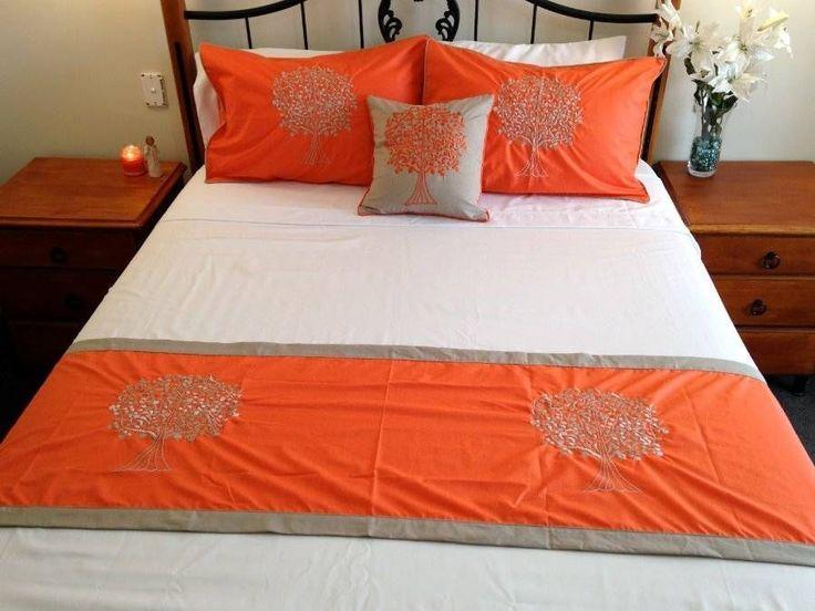 Tree of Life Bed Set  2 Pillow Cases, Cushion Cover & Bed Runner Orange Taupe $98.90