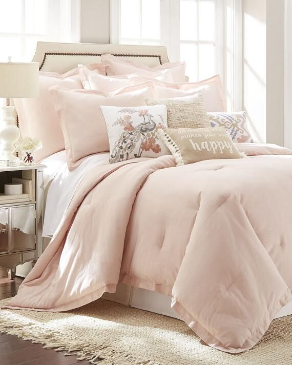 Exclusively Ours 3 Piece Blush Linen Blend Comforter Set
