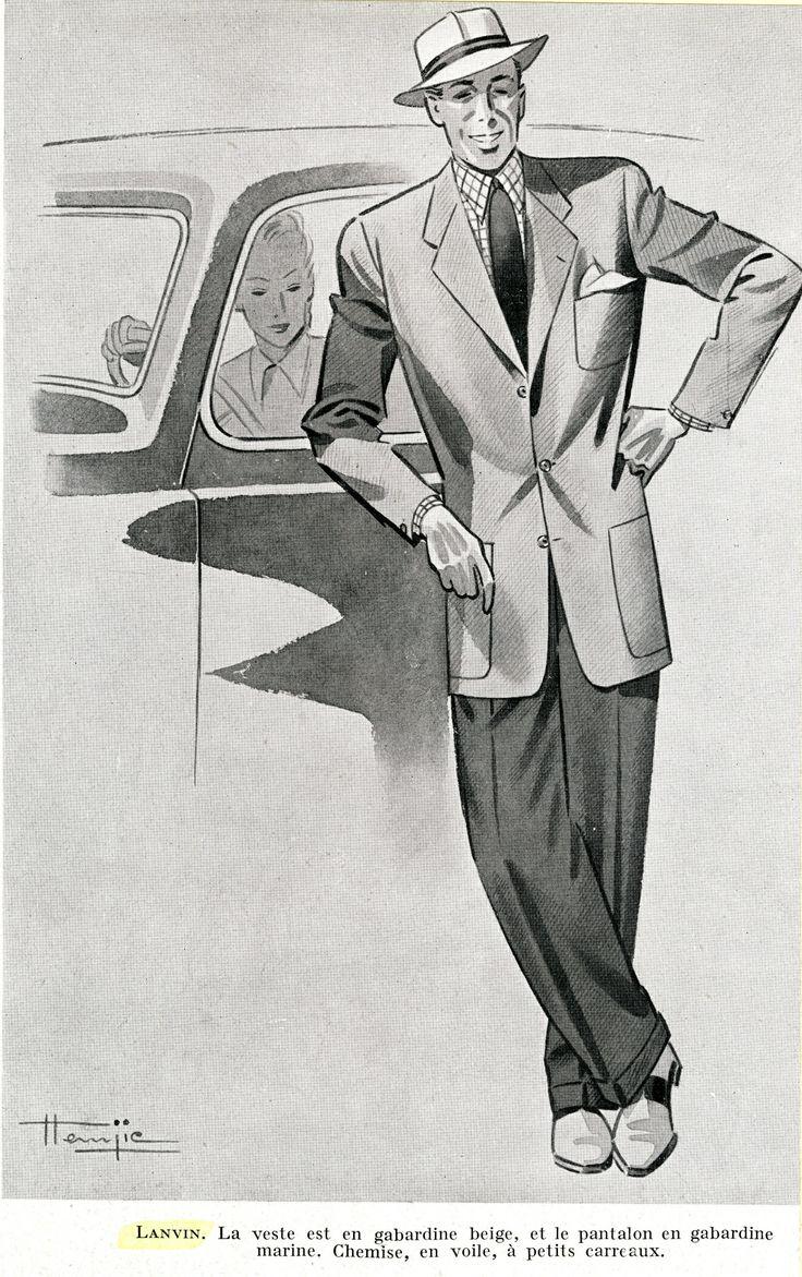 Veste en gabardine beige, pantalon en gabardine marine. Chemise en voie à petits carreaux. Lanvin 1946 © Patrimoine Lanvin. #Lanvin125