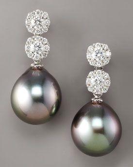 Assael  Diamond & Pearl Drop Earrings