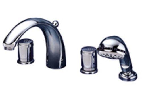 Ceraron 4-Loch Wannenrand Armatur Badewannenarmatur Weiss/Edelmessing