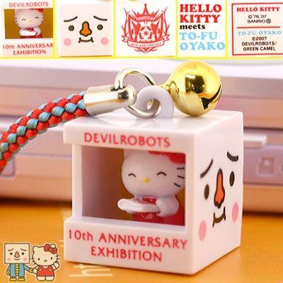 Sanrio Hello Kitty x DEVILROBOTS Tofu Oyako Netsuke Cell Phone Strap 520 JPY (6.70 USD) Model: 161-747858 11 Units in Stock