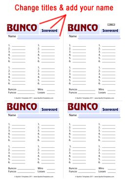 Free Printable BUNCO Score Cards  http://www.apollostemplates.com/templates-bunco/