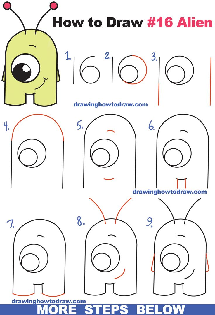 How To Draw Cute Cartoon Alien From Numbers