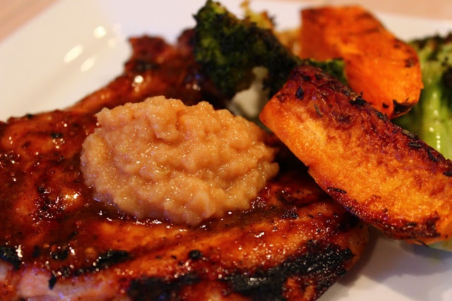 BBQ Molasses Pork Chops w Homemade Apple Butter & Roasted Veggies ...
