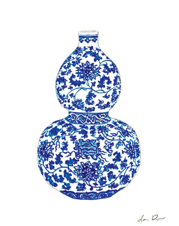 Blue And White China Ginger Jar Vase No 2 Giclee Print Of Watercolor Porcelain Chinoiserie