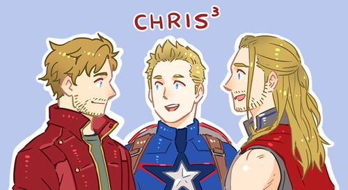 The Many Chrises of Marvel - Chris Pratt (Peter Quill), Chris Evans (Steve Rogers) & Chris Hemsworth (Thor).