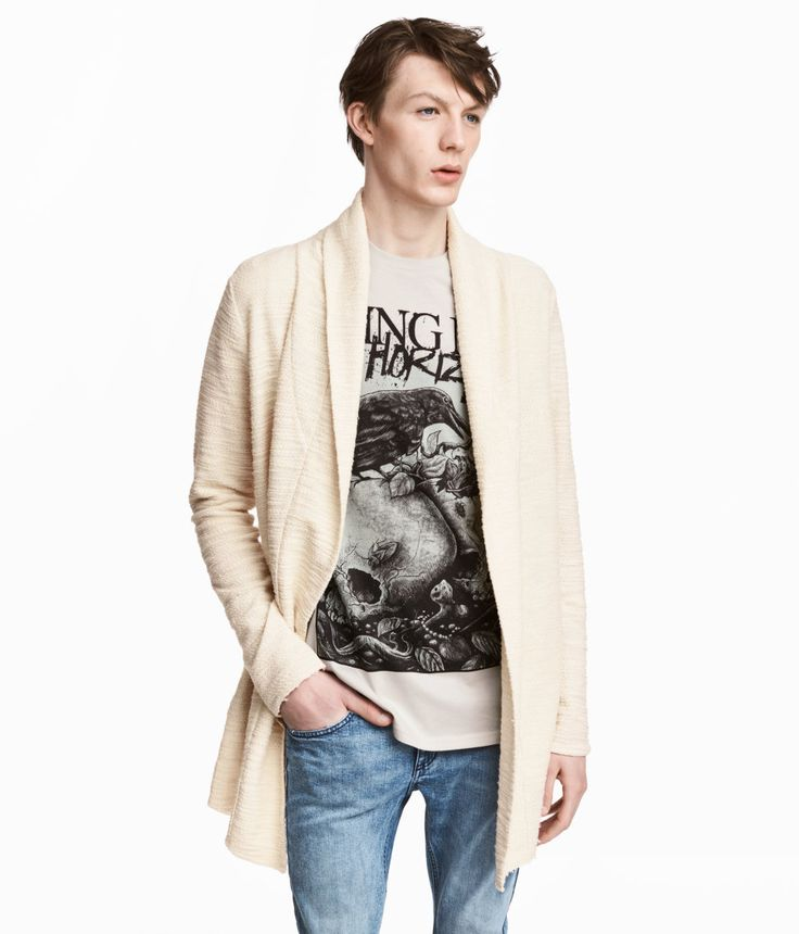 Check this out! Cardigan in textured sweatshirt fabric with draped lapels, side pockets, and raw edges at cuffs and hem. - Visit hm.com to see more.