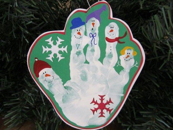Handprint Snowman Ornament #HandprintHolidays